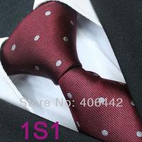 Coachella Men's ties 100% Pure Silk Tie Burgundy With Silver Spots Dots Woven Necktie Formal Neck Tie for dress shirts Wedding
