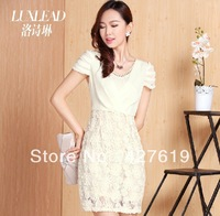 Luxlead 2013 summer new arrival diamond V-neck patchwork chiffon one-piece dress, with 3D flower decoration, free shipping