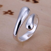 VSR135 Fashion Jewelry Popular 925 Sterling Silver Plated Waterdrop Adjustable Rings for women wholesale