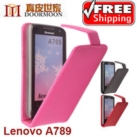 3 Color Original Doormoon Top Flip Leather Case for Lenovo A789 Phone Pouch 1pcs/lot Freeshipping +Free Screen Protector