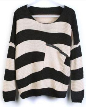 новый прибыл осенью и зимой свитера для женщин cool черный и белый полос трикотажного свободно с карман, горячая продажа!