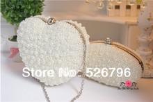 2014 women's handbag handmade pearl bags white bridal wedding bags evening bag banquet  bag lady wallet(China (Mainland))