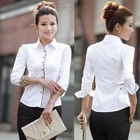 Charm Office Formal Clothes 2013 Leopard Slim Women White Shirt Size S-2XL New Sweet Lady OL Fashion Blouse Free Shipping D1239(China (Mainland))