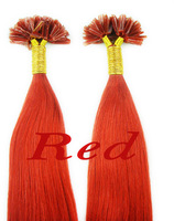 100%remy human nail hair Extensions RED 1g/Strand,100 Strand/pack