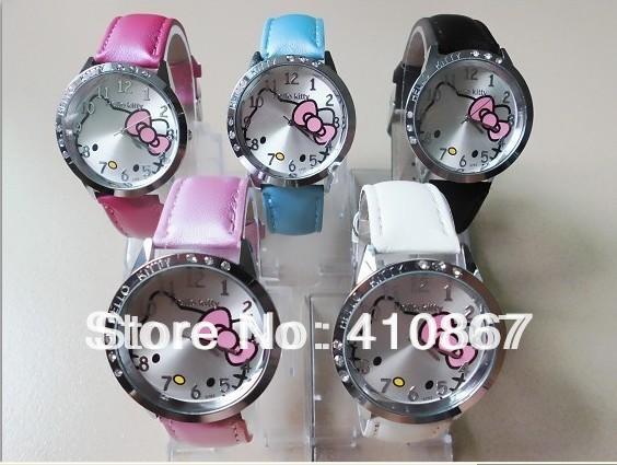 Wholesale 20pcs Fashion Hello Kitty Ladies Women's Girls Quartz Wrist Watches, Xmas Gifts, Free Shipping(China (Mainland))