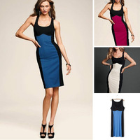 012 Summer women's 2014 fashion color patchwork decoration sexy elastic hip slim one-piece dress female sexy dress
