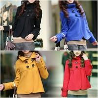 4 Colors Korean fashion Women's Fit Slim Outwear Temperament Woolen Collar Jacket Turtleneck Coat drop shipping b11 3417