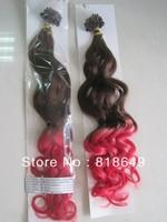 "Brazilian Queen Hair :24"" #4t red loose wave Micro Ring Loop Brazilian Virgin Hair Extension (0.8g/strand x 100)"
