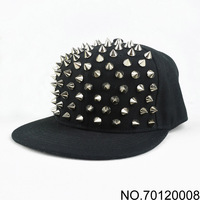 2013 new fashion hip-hop hiphop punk rivets and studs spike caps flat brim hats baseball cap handmade rivet hat 130703