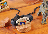 free shipping (12pcs/lot)100%  12 constellations leather Men Hemp Surfer Tribal MultiWrap Wrist Bracelet wristband