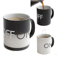 Switch ceramic mug glass temperature sensing off on changing color coffee cup