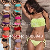New Women's Sexy Boho Fringe Tassels Bikini Set Beach Swimwear Swimsuit Biquini