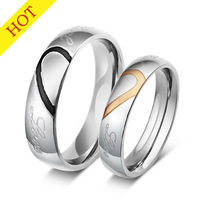 heart  ring his and her promise rings sets stainless steel couple ring for men and women  wedding ring CR-001