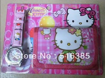 New Free shipping hello kitty watch Wristwatches and purses Wallet 1pcs/lot