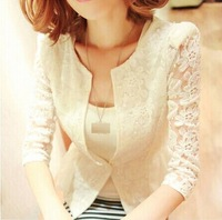 D2t2x  2014 sweet lace crotch women blazer spring autumn women's jacket  o neck outerwear