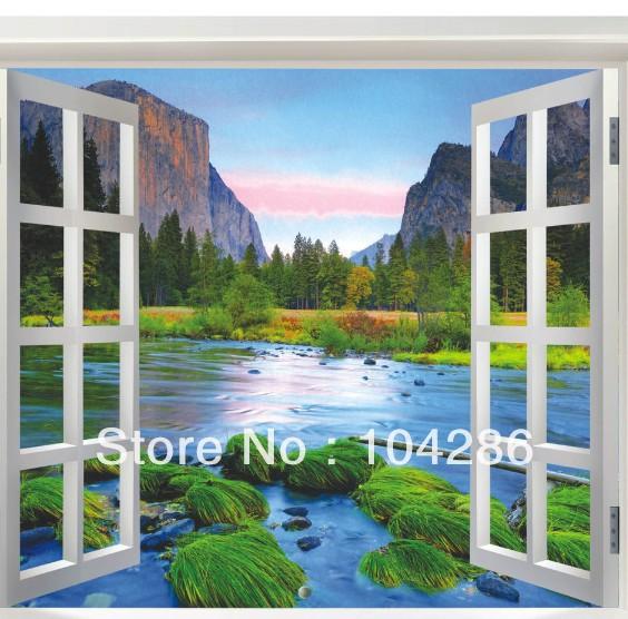 affreschi murali finestre finte : Finte finestre naturale fiume splendida vista collina autoadesivo ...