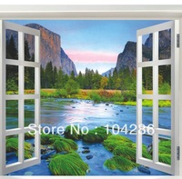 Fake windows natural hill river wall sticker beautiful view wall paper natural scenery wall decoration 60*90cm free shipping