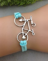 3pcs Bicycle Charm Bracelet--Antique Silver Bracelet--Wax Cords and Imitation Leather Braid Bracelet--Best  1224  Mini order 10$