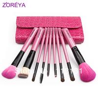 Zoreya 9 crocodile skin animal wool cosmetic brush set flat foundation brush eye brush set