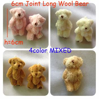 H=6cm Free Shipping 100pcs/lot Cartoon Long Wool Plush Mini Joint Bear Bare Teddy Bear For Key/Phone/Bag Stuffed Dolls