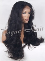 1B# super wave silk top full lace human hair wig 150% density free shipping