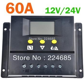 60A regulador solar, batería regulador de carga del Panel 60a, pwm, 12 V / 24VDC auto, con pantalla lcd, cargador Solar