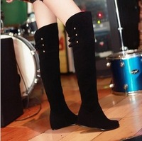 Free shipping 2013 spring and autumn single  hasp motorcycle flat heel boots scrub high-leg elevator over-the-knee long boots