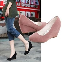 Free shipping 2013 spring and autumn single shoes women's  nubuck leather high-heeled shoes wedges round toe work  dipper shoes