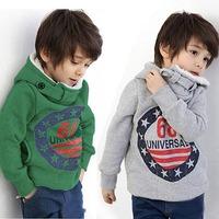 Retail-child boy berber fleece sweatshirt thickening 100% cotton with a hoody sweater