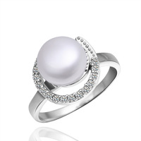 Free Shipping White Gold Plated Pearl Rings,Made With Rhinestone Rings,Wholesale Fashion Jewelry PLR005