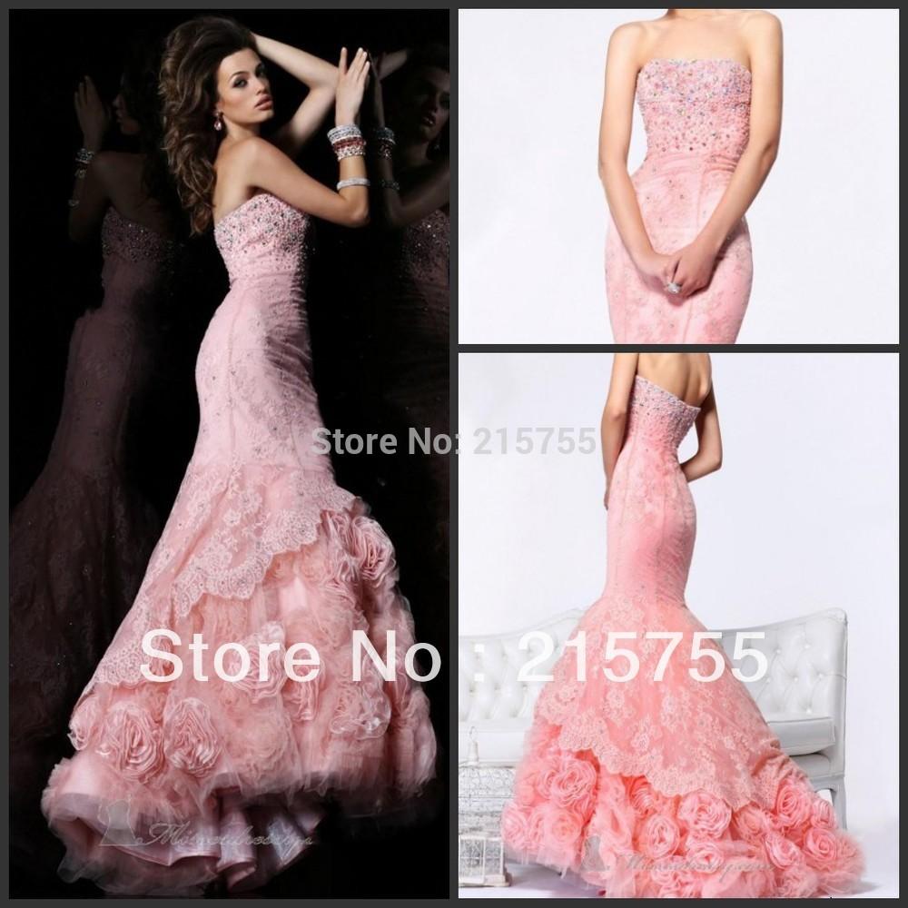 2014 neuankömmling maßgeschneiderte trägerlosen sicken blumen spitzen rosa elgant versandkostenfrei Luxus ballkleid