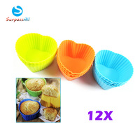 12X Heart Shape Silicone Muffin Cake Cupcake Cup Cake Mould Case Bakeware Maker Mold Tray Baking Alibaba Express