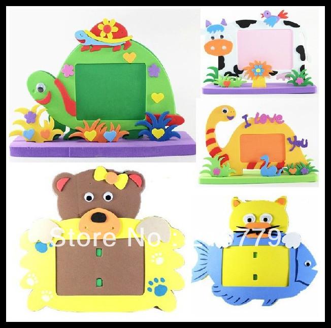 10pcs/lot Kids handmade Animated Photo Frames DIY Cartoon Animal EVA Foam Picture Frame Puzzle Educational Toys for Children(China (Mainland))
