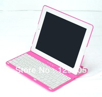 New 360 degree rotating Case Cover Stand Wireless Bluetooth Keyboard for iPad 2/3/4 new iPad Free Shipping-Pink