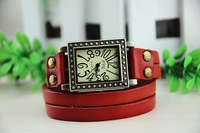 Antiqued Bronze Rectangle Watch Red Double Leather Wrap Bracelet,free shipping