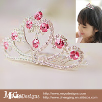 2014  sweet red stone Sliver plating Tiaras Crowns for kids girls lovely princess crown