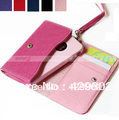High Quality Luxury Leather Wallet Bag Case Cover Card Slots for iPhone 4 4G 4S 3G and Cell Phone Free Shipping