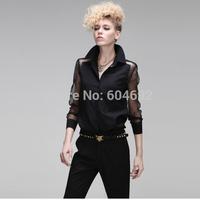 DropShipping Stylish Womens Long Sleeve Button Down Shirt OL Career Sheer Blouse Chiffon Tops HR630 FreeShipping