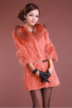 2014 New Fashion Genuine Rabbit Fur Coat With Raccoon Dog Fur Collar Winter Women's Clothing/Hot sale/Free shipping ZX0153