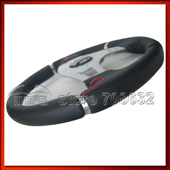 Universal 350mm Black Stitch Punching Grain Leather Racing Car Tuning MOMO Millenium Steering Wheel(China (Mainland))
