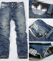 free shipping fashion men modern brand designer denim men's new grinding white baggy jeans pants