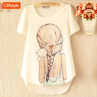 Ctrlstyle Fashion 2013 clothes women  chiffon shirt  diamond beauty bow short-sleeve chiffon blouse t shirt girl and cat