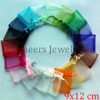100pcs/lot Organza Bag 9x12cm,Wedding Jewelry Packaging Pouches,Nice Gift Bags 100pcs/ random color,Free Shipping