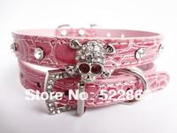 Free Shipping new Diamante Rhinestone Crystal Skulls Dog Cat Collar Blue Pink Leather Dog Cat Collars Bling Collar