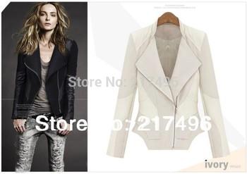 Womens Faux Leather Spliced Biker Zipper Jackets Coat Women Jaqueta Bolero Clothes Specials Us Size cascos feminios