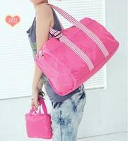 Free postage 2013 large capacity female bags luggage bags stripe nylon travel bag one shoulder big bag