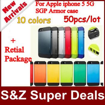 50pcs 100% Positive Feedback phone cases SGP SPIGEN SGP Slim Armor Color Series case for Iphone 5 5S case with Retail Package