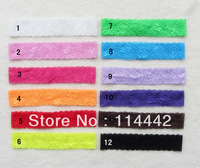"Free Shipping 50pcs /lot  12 colors 1.5""  Younger Girls Baby Infant Toddler Elastic Lace Headbands Stretcher Headwear"