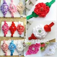 "New girl's headband 3"" Rolled Fabric Rosette Flower Roses with diamond 30pcs/lot Baby Headband"