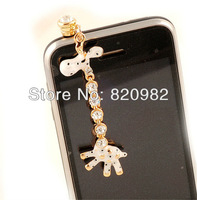 10pcs/lot Original Rhinestone Giraffe 3.5mm Anti Dust Earphone Jack Plug For Apple iPhone Samsung HTC Lenove